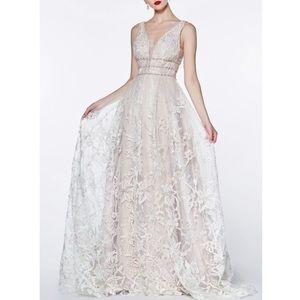 Dresses & Skirts - MAUVE LONG FLORAL LACE V-NECK Evening/Prom GOWN